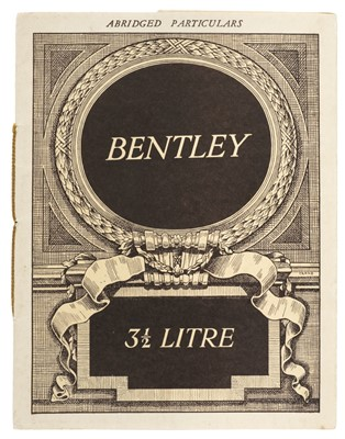 Lot 11-Bentley. 3½ Litre Abridged Particulars, circa 1933-1939
