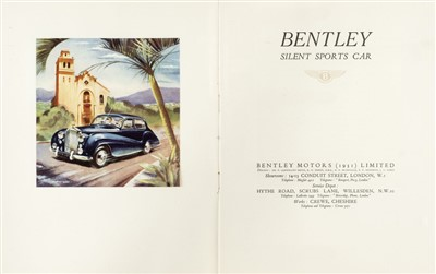 Lot 14-Bentley. Silent Sports Car sales brochure, circa 1952