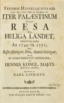 Lot 32-Hasselquist (Fredrik). Iter Palaestinum, 1st edition, 1757