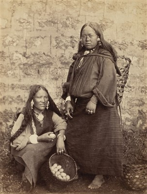 Lot 34-Tibet. Two Bhoorka women selling eggs and butter, c. 1880s