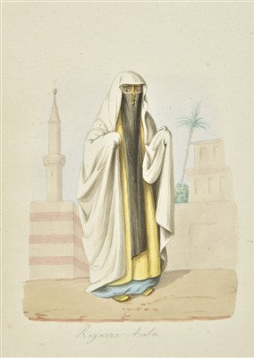 Lot 47-Middle Eastern costume. Album of watercolours, 19th century