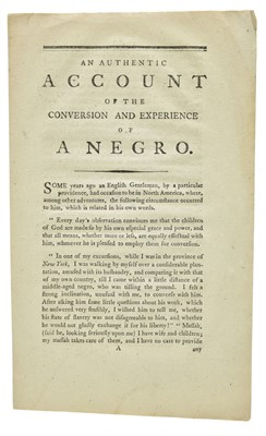 Lot 1-African-Americana. An Authentic Account of the Conversion and Experience of a Negro, [1795]
