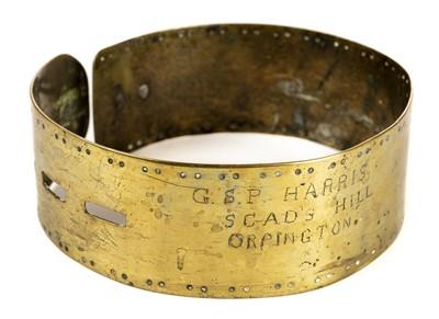 Lot 56 - Dog collar. A Victorian brass dog collar