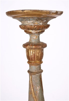 Lot 48 - Candlestick. A large Italian carved wood altar stick, late 19th century