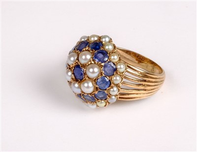 Lot 30 - Rings. A yellow metal sapphire and pearl cluster ring plus two others