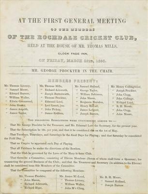 Lot 413-Rochdale Cricket Club, Annual Meeting, 1838-1840, 1845 & 1848