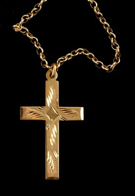 Lot 15 - Necklace. A 9ct gold necklace and T-bar plus 1 other chain