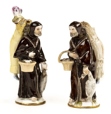 Lot 73 - Meissen. Meissen. A pair of 19th century Meissen style porcelain monk scent flasks