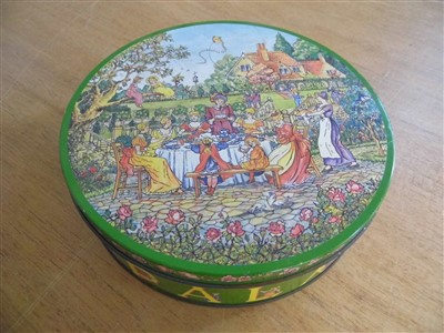 """Lot 61 - Huntley & Palmers. A Huntley & Palmers """"Rude"""" biscuit tin"""