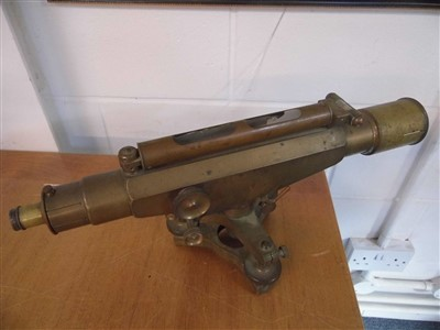 Lot 66 - Theodolite. An Edwardian brass Stanley theodolite