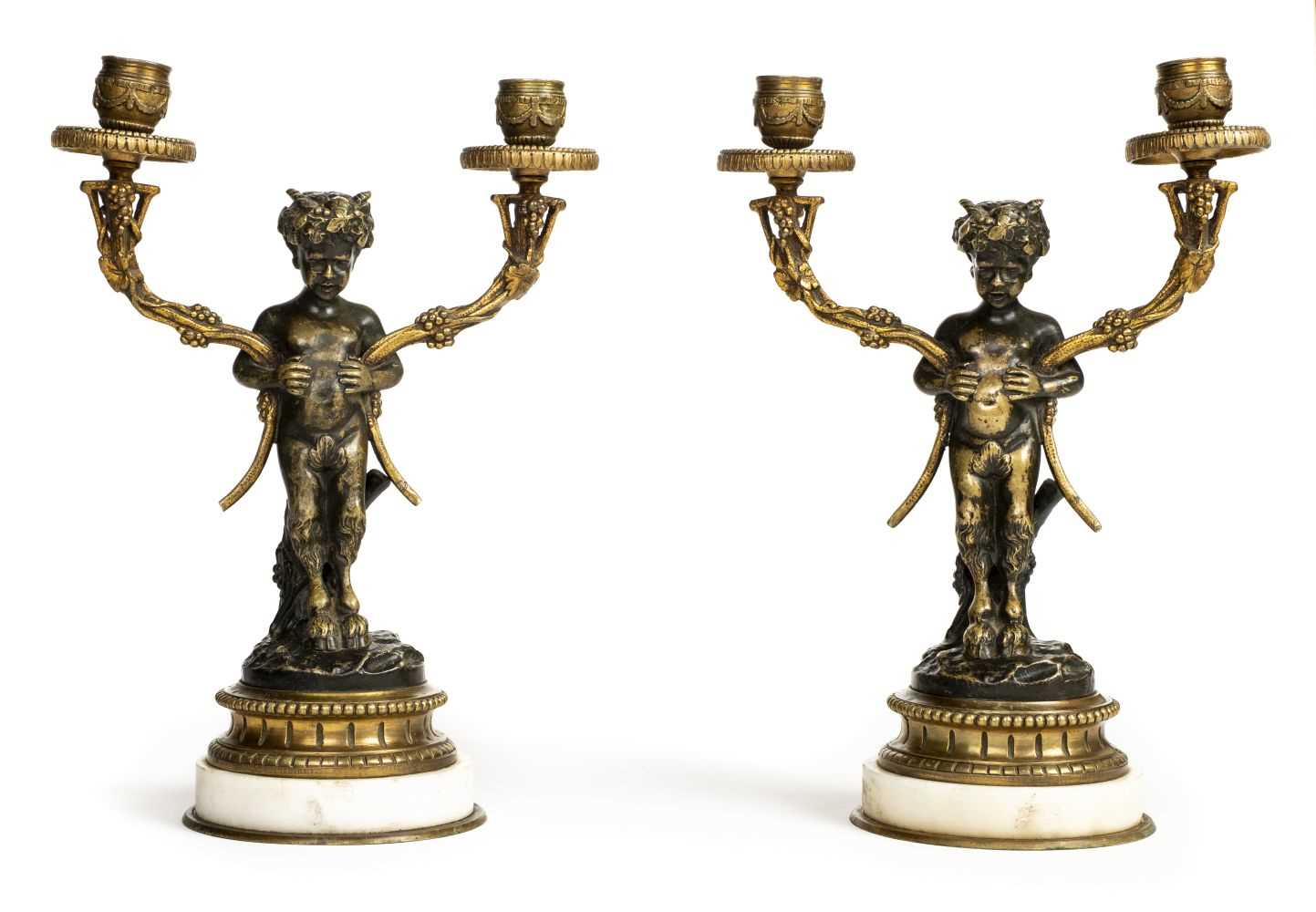 Lot 47 - Candelabra. A pair of 19th century candelabra modelled as Satyr