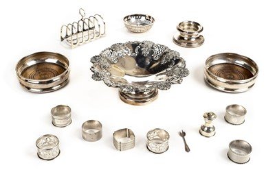 Lot 36 - Fruit bowl. A Victorian silver fruit bowl together with various silver items