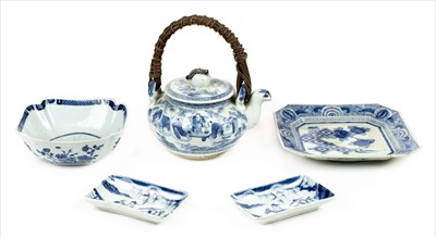 Lot 96 - Oriental ceramics. A 19th century Chinese blue and white dish and other items