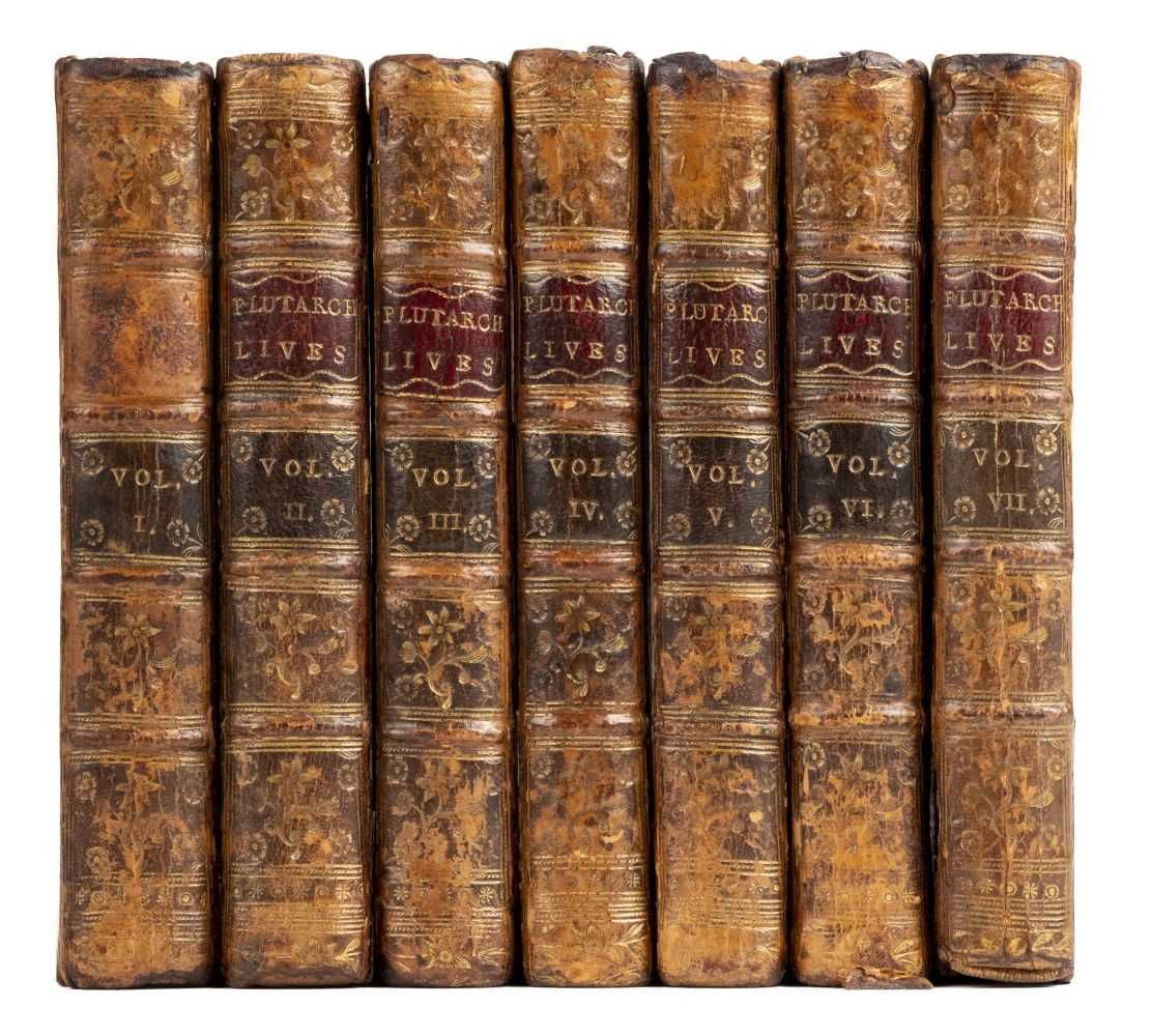 Lot 573-Newbery (J., publisher). Plutarch's Lives, abridged from the original Greek, 7 volumes, 1762