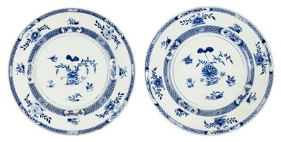 Lot 75 - Chargers. Two 18th century Chinese porcelain chargers