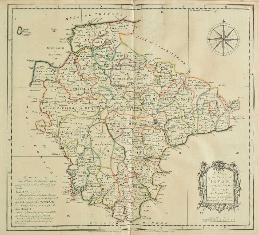 Lot 21-Devon. Donn (Benjamin), A Map of the County of Devon, 1765