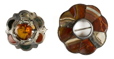 Lot 10 - Brooches. Two Victorian Scottish pebble brooch