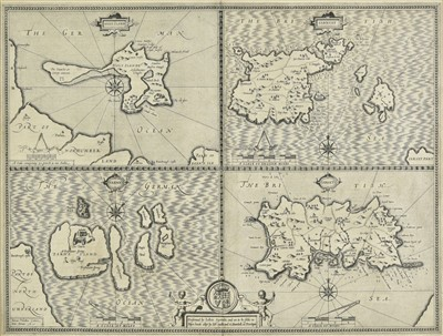 Lot 18-British Islands. Speed (John), Four maps on one sheet of British Islands, 1611