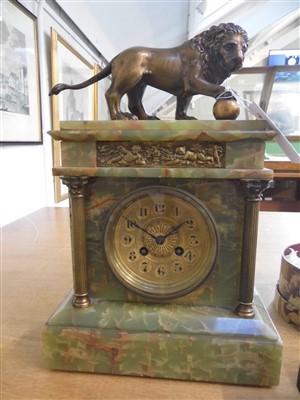 Lot 50 - Clock. A French onyx mantel clock circa 1900