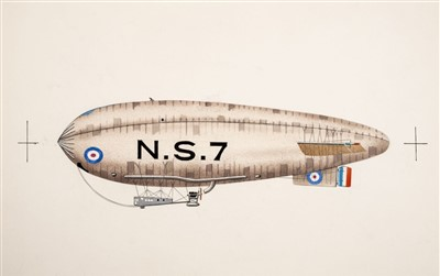 Lot 42-Airships, Rigid & Non-Rigid Dirigibles, 1900-1914. A group of original artwork illustrations