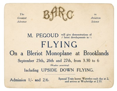 Lot 37-Adolphe Pegoud. Brooklands Automobile Racing Club invitation, 1913