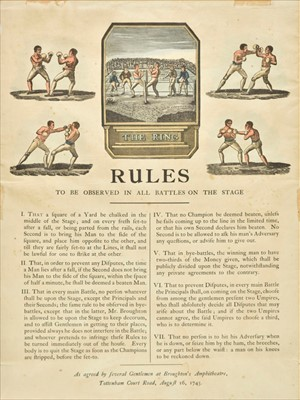 Lot 93 - Boxing. Broadside of rules, dated 1743 but later