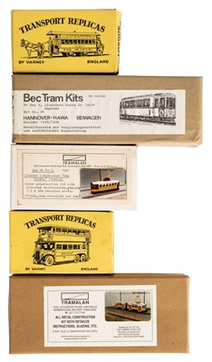 Lot 5-Tram model kits. A collection of brass etched tram model kits and related