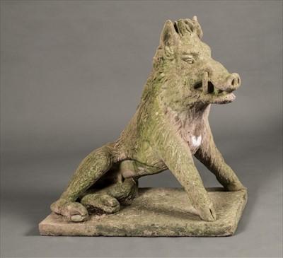 Lot 42-Boar. Large terracotta Boar sculpture