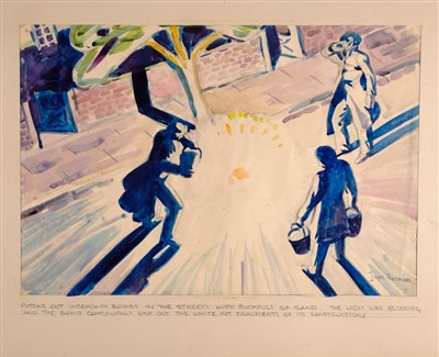 Lot 279 - Beddoes (Ivor, 1909-1981). A group of watercolour & pencil drawings of scenes from the London Blitz