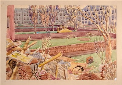 Lot 279-Beddoes (Ivor, 1909-1981). A group of watercolour & pencil drawings of scenes from the London Blitz
