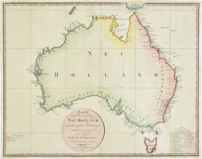 Lot 8-Australia. Lindner (F. L.), Karte von Neu Holland, 1814