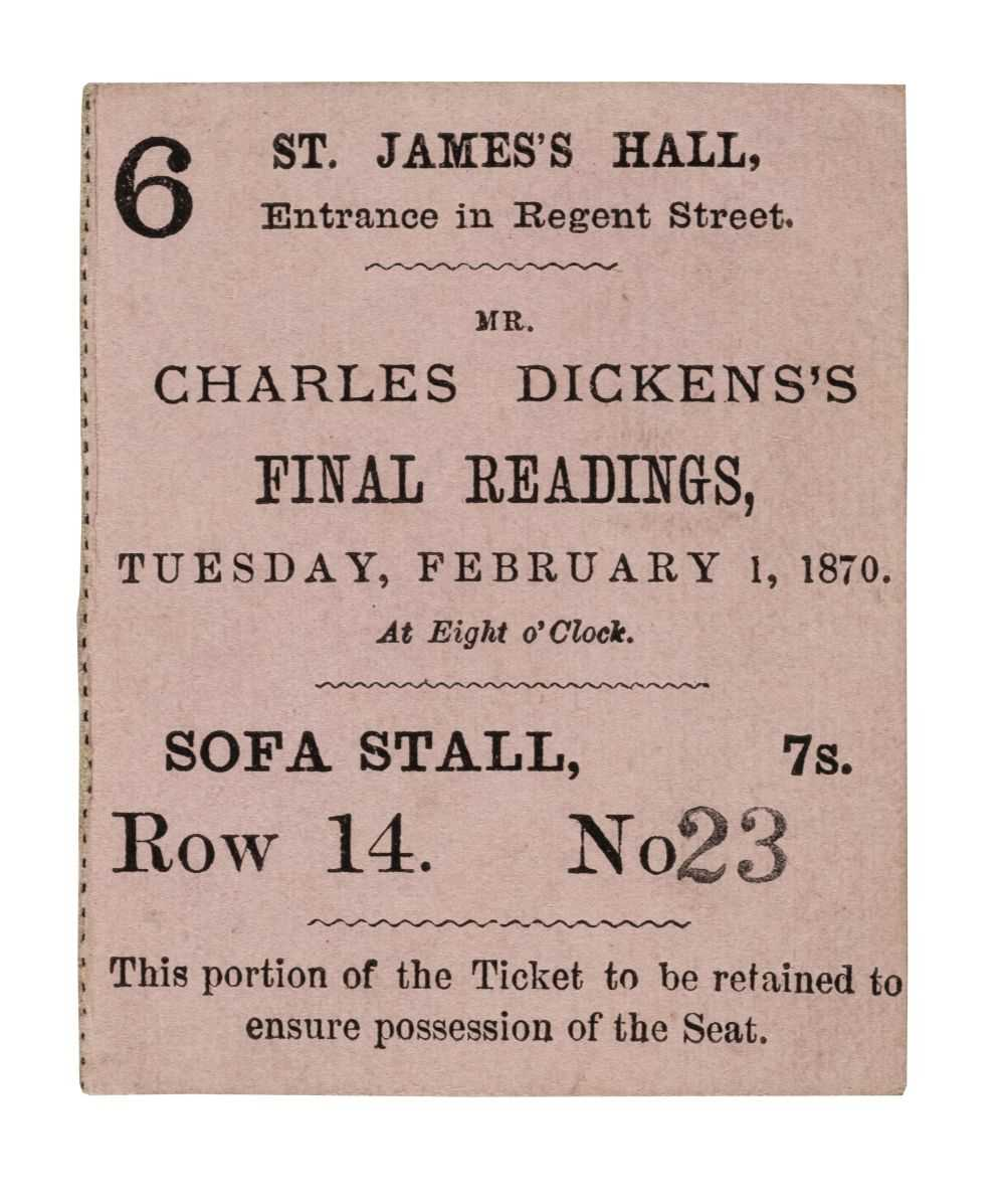 Lot 527-Dickens (Charles). Ticket for Charles Dickens's Final Readings, 1870