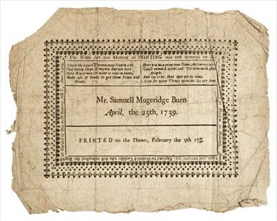 Lot 396 - Frost Fair Broadside. Mr. Samuell Mugeridge Born April, the 25th, 1739