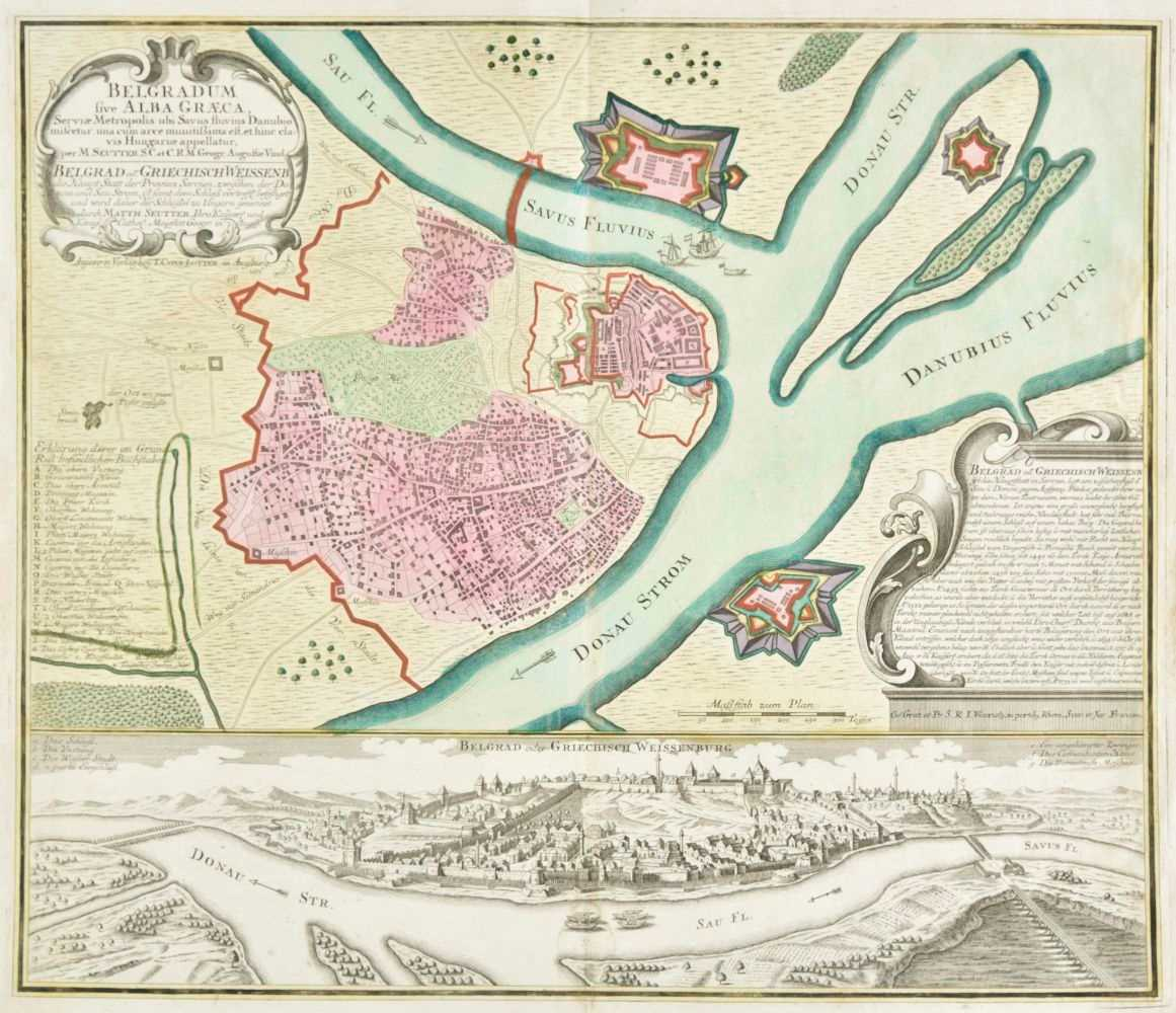 Lot 5-Belgrade. Seutter (George Matthaus), Belgradum sive Alba Graeca..., circa 1735