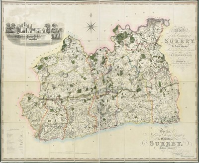 Lot 81 - Surrey. Greenwood (C & J), Map of the County of Surrey, 1823