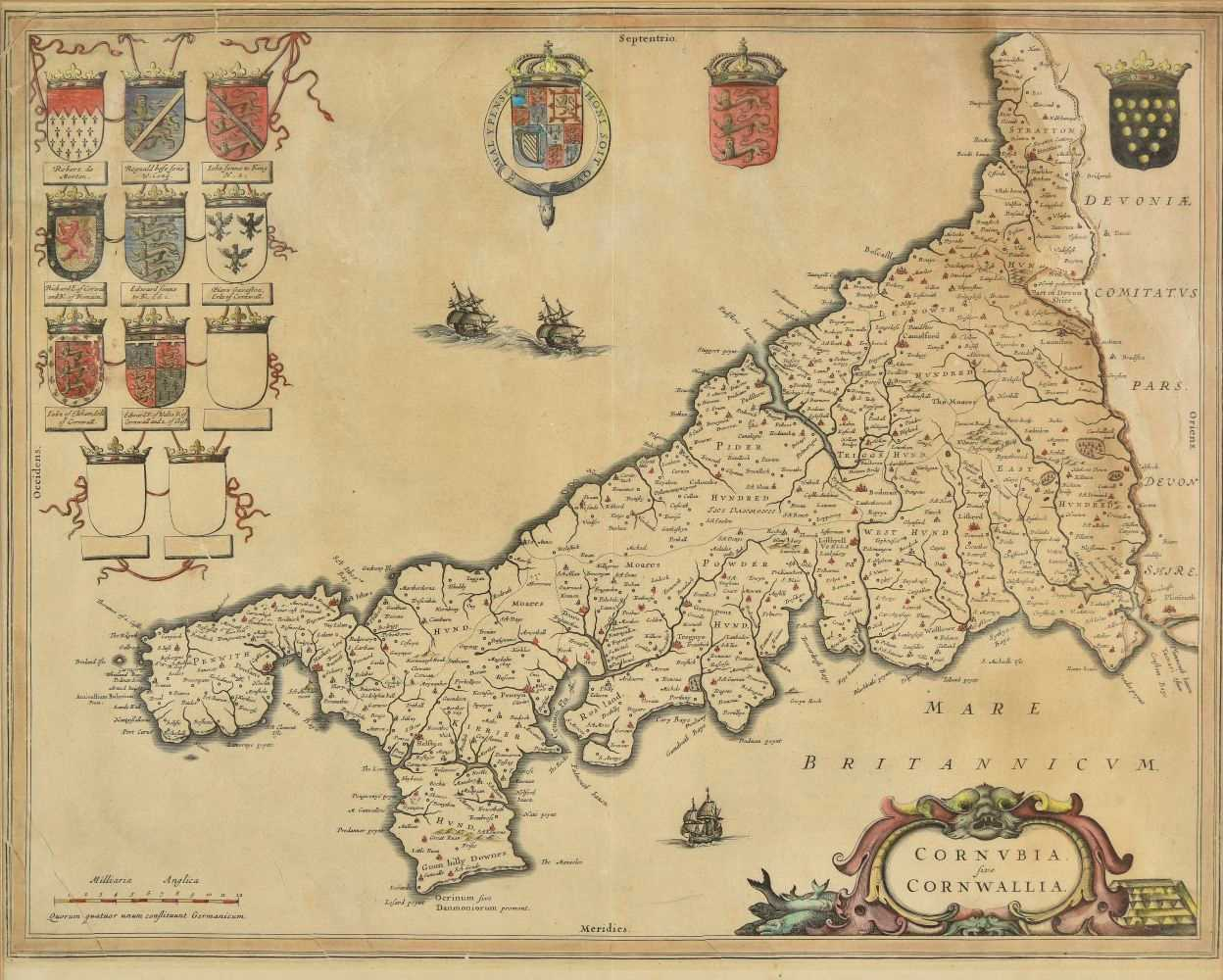 Lot 20-Cornwall. Blaeu (Johannes), Cornubia sive Cornwallia, Amsterdam, circa 1650
