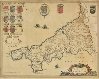 Lot 20 - Cornwall. Blaeu (Johannes), Cornubia sive Cornwallia, Amsterdam, circa 1650