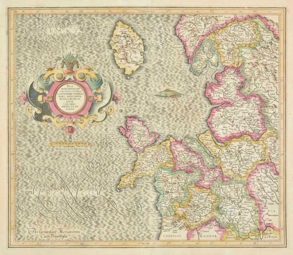 Lot 14-British Isles. Mercator (Gerard & Hondius Henricus), Four regional maps, circa 1610