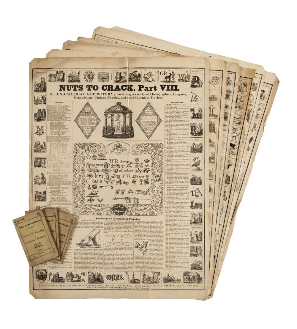 Lot 538-Broadside puzzles. Nuts to Crack, Parts VII-XI, XX, London: R. Macdonald, circa 1840s