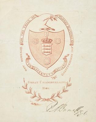 Lot 398 - Hastings (Warren, 1732-1818). An original ticket for the trial of Warren Hastings, 1794