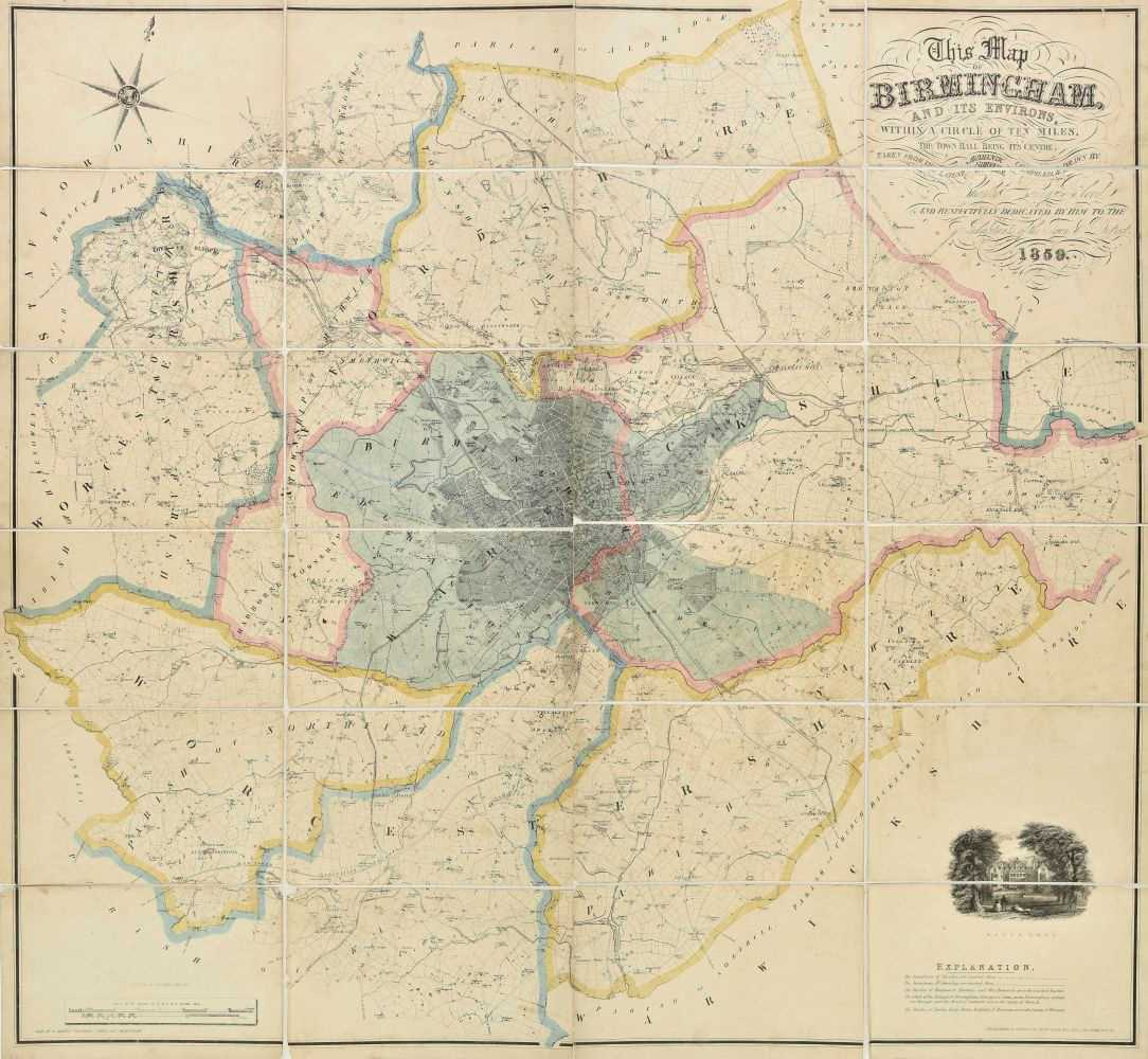 Lot 7-Birmingham. Blood (Charles Henry), Map of Birmingham, 1859