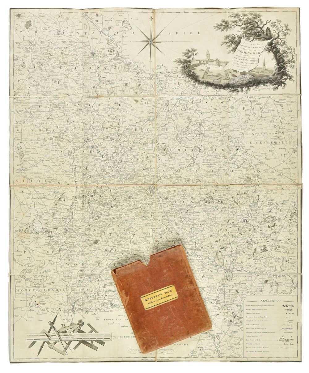 Lot 9-Birmingham. Sherriff (James), Map of Birmingham, 1819