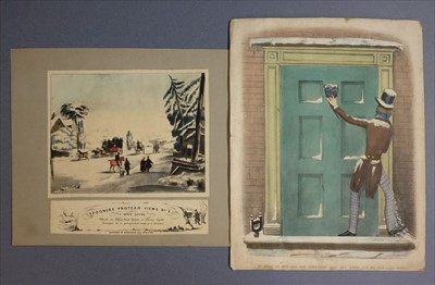 Lot 571-Moveables & Transformation Pictures. A moveable comic Valentine, circa 1870