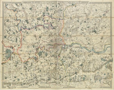 Lot 51 - London, From the Ordnance Survey, Thirty miles round London, 1855
