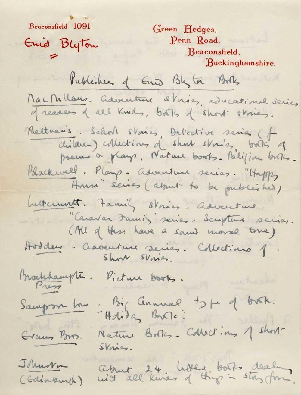 Lot 580 - Blyton (Enid, 1897-1968). Autograph letter signed, 24 June 1947