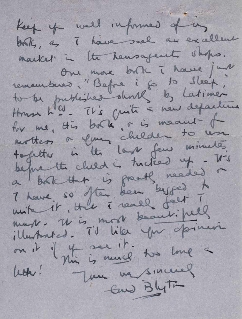 Lot 581 - Blyton (Enid, 1897-1968). Autograph letter signed, 23 August 1947