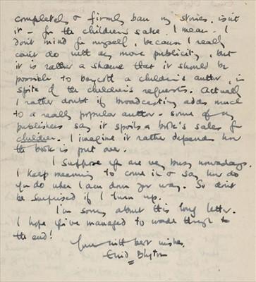 Lot 582 - Blyton (Enid, 1897-1968). Autograph letter signed, 4 June 1949