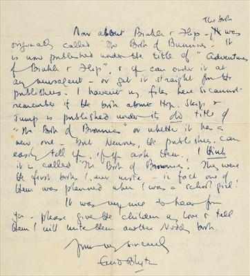 Lot 583 - Blyton (Enid, 1897-1968). Autograph letter signed, 21 June, c. 1950s