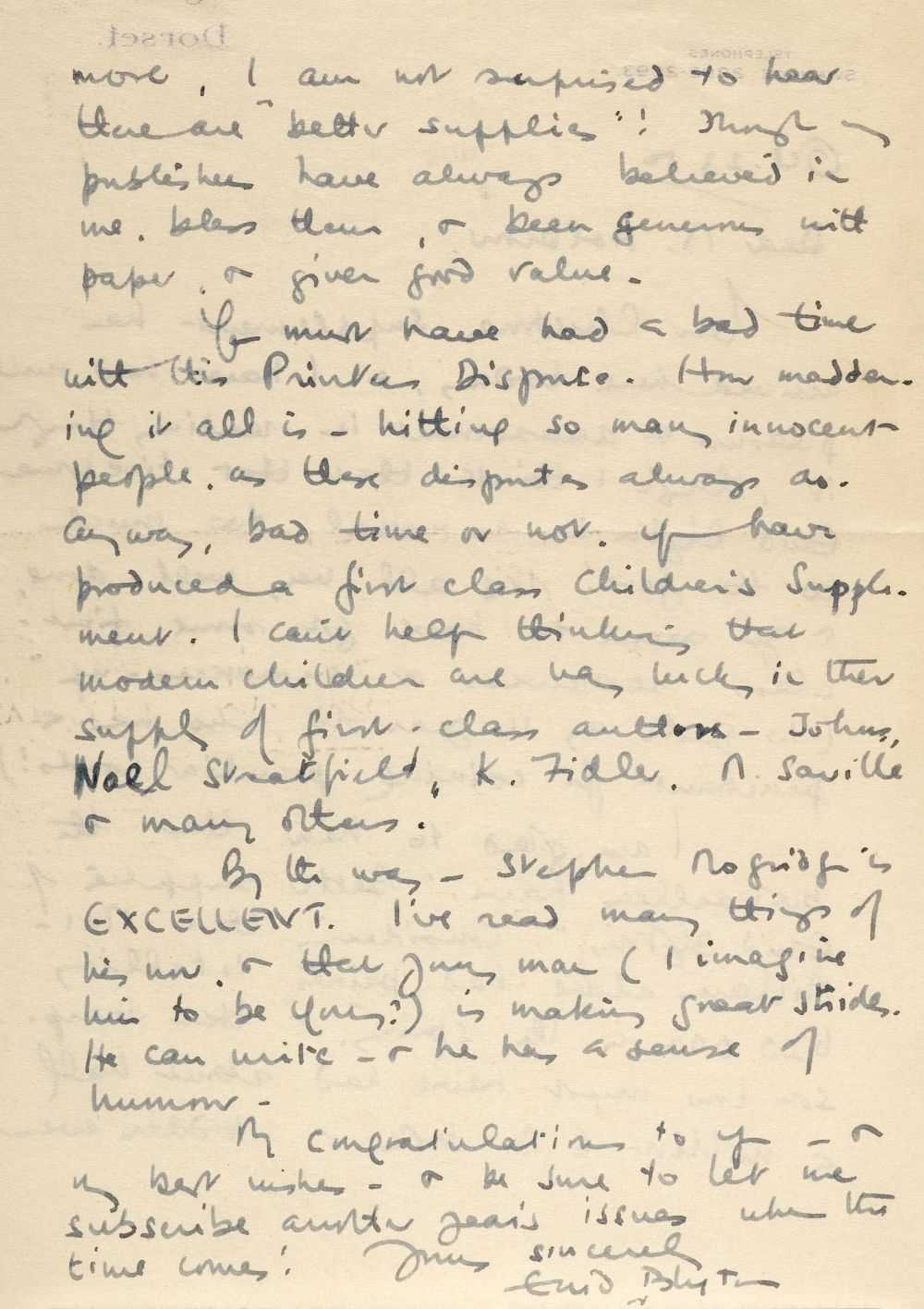 Lot 584 - Blyton (Enid, 1897-1968). Autograph letter signed, 23 October 1950