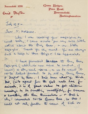 Lot 585 - Blyton (Enid 1897-1968). Autograph letter signed, 19 July 1952